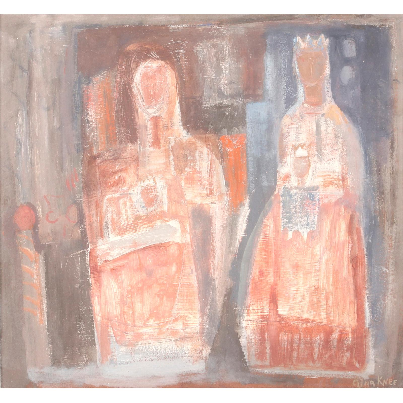 """Gina Knee, (American, 1898-1982), untitled (King and Queen),, gouache on board, 12""""H x 13 1/4""""W (image) 15 1/4""""H x 16""""W (frame)"""