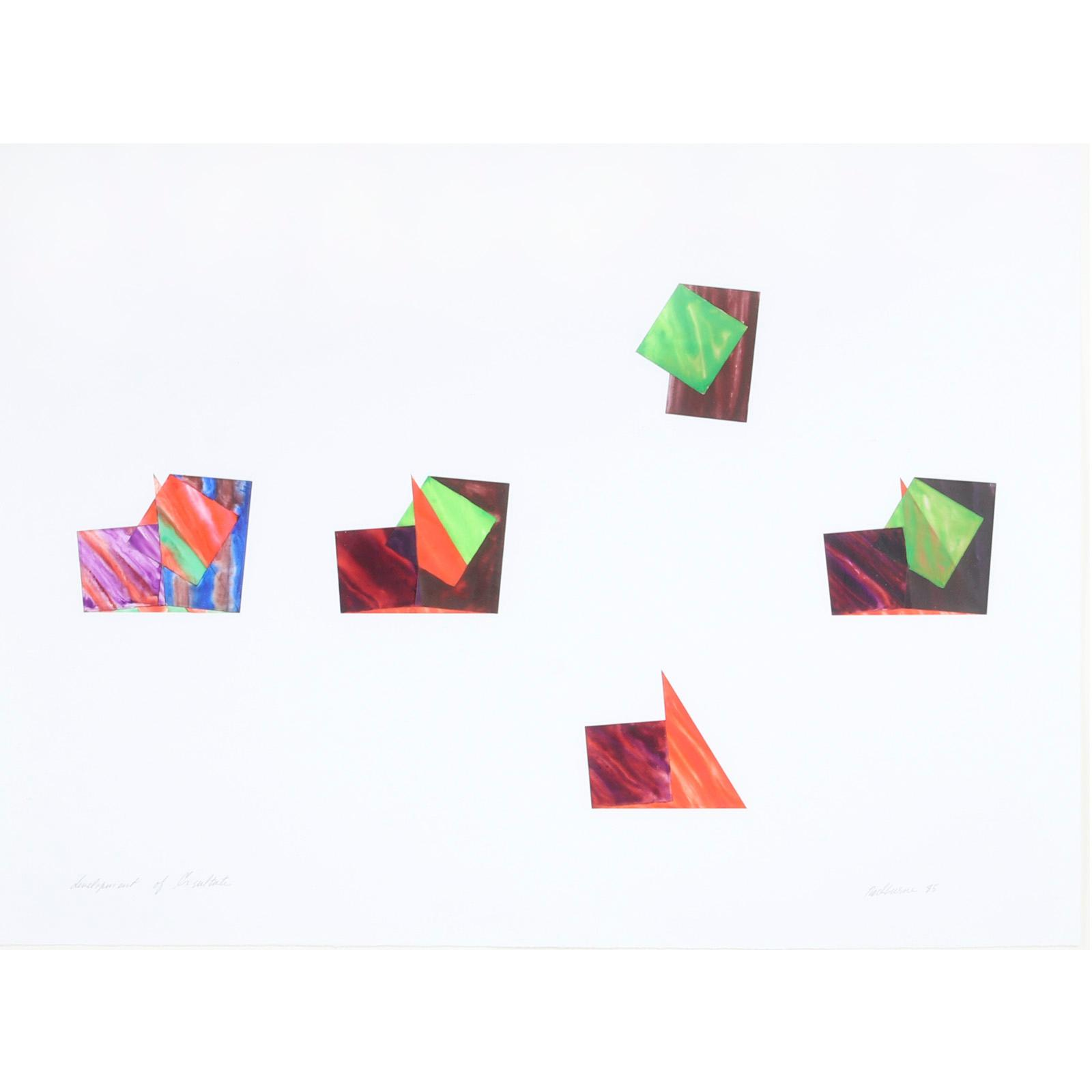 """Dorothea Rockburne, (Canadian, b.1932), Development of Exsultate, 1985, ink and watercolor on prepared acetate, 22""""H x 29""""W ( image) 251/2""""H x 33""""W(frame)"""