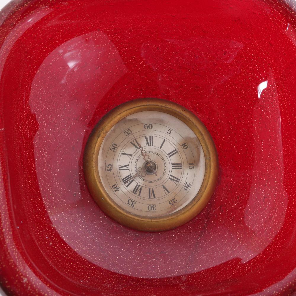 "Seguso Vetri D'Arte Murano Pulegoso art glass desk clock. 6 1/2H x 6 1/2W x 3""D"