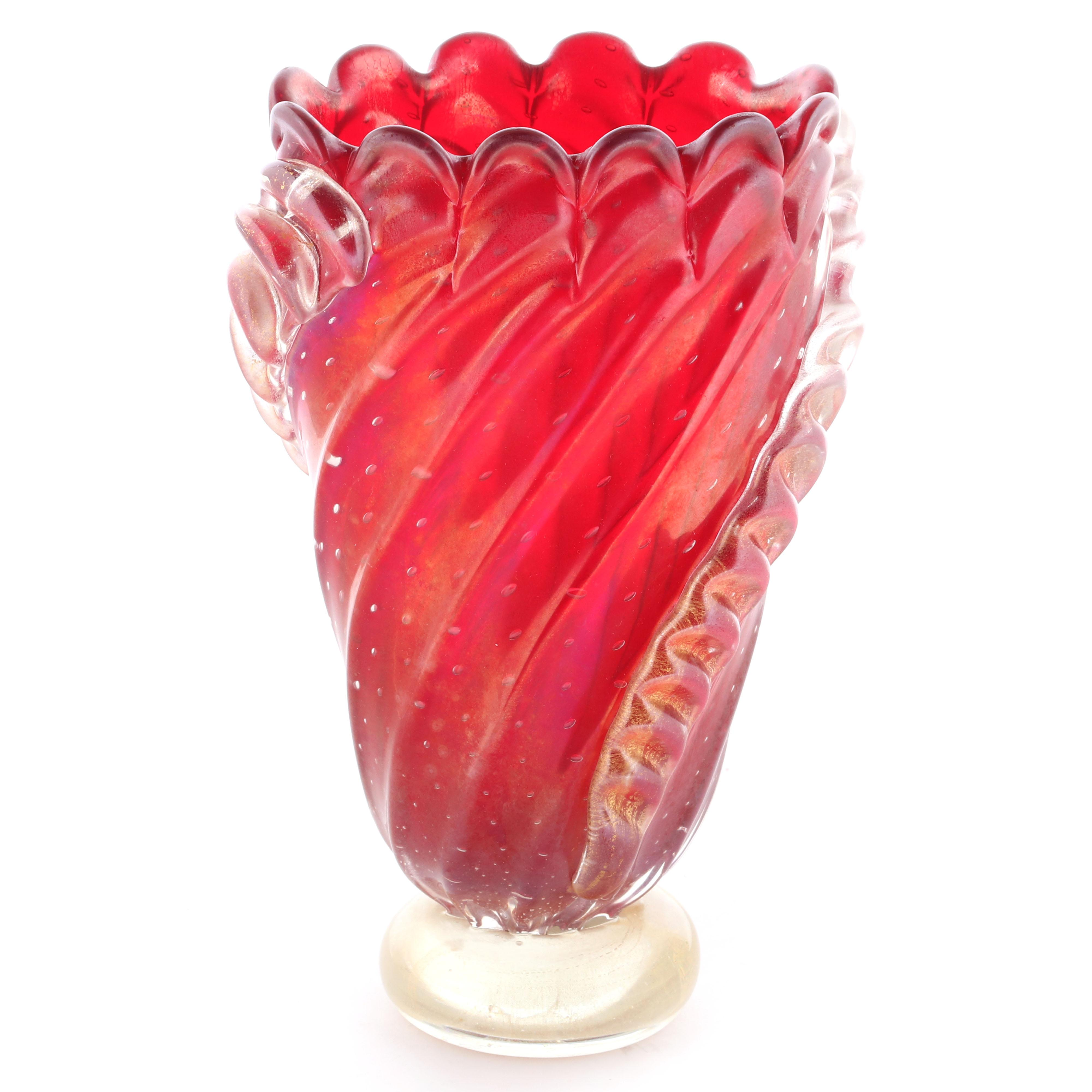 "Barovier red Murano art glass vase, red on clear foot with applied ribbon decoration. 11""H"