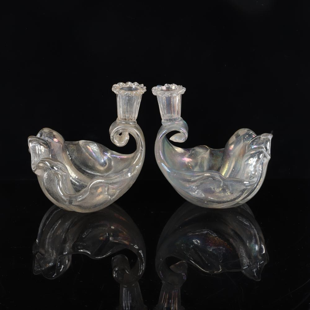 "Barovier pair Iridato shell form Murano art glass candle holder bowls. 6 1/2""H x 6"" diam"