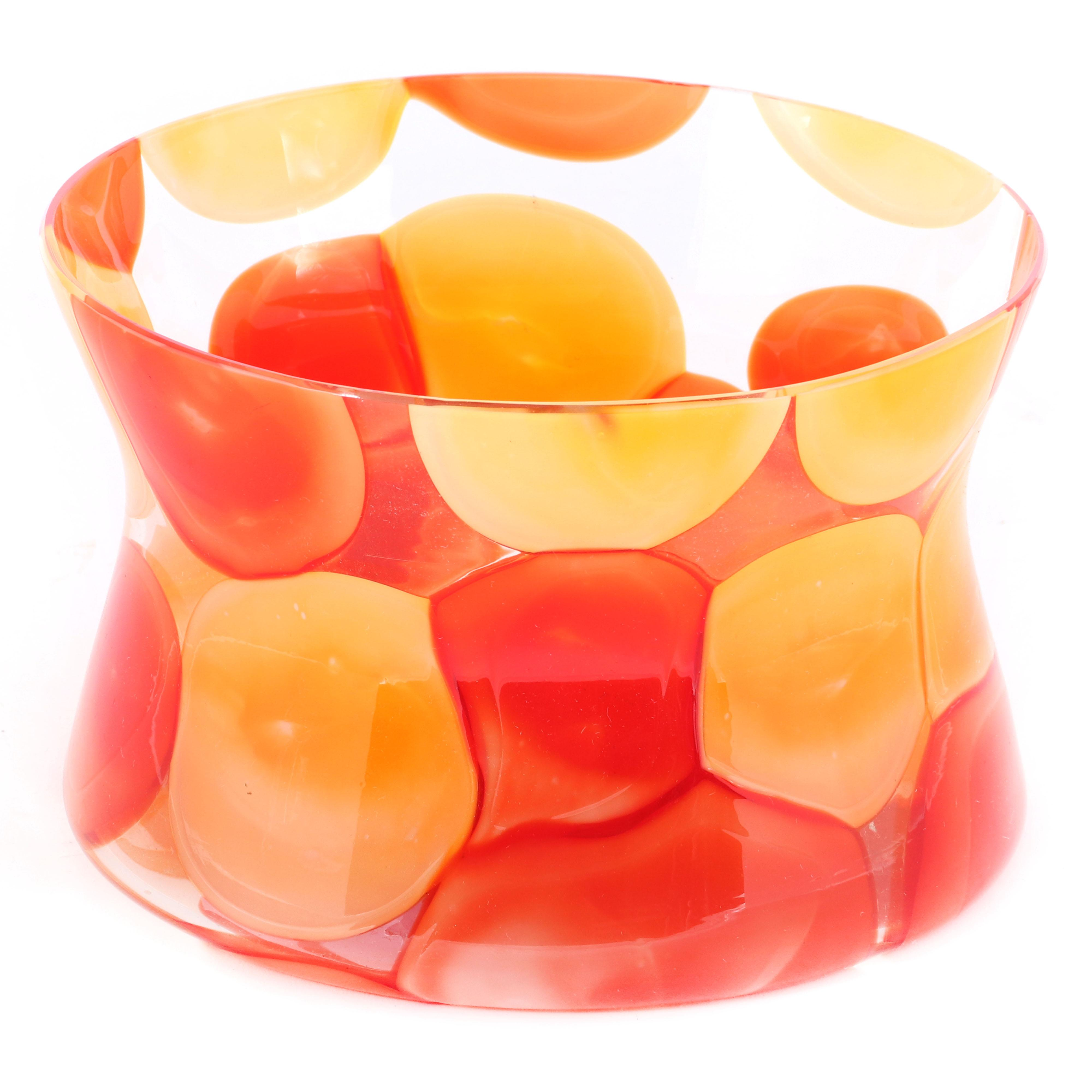 """Fratelli Toso Murano art glass Nerox corset form bowl with red-orange and yellow on clear ground. 4 1/2""""H x 6"""" diam"""