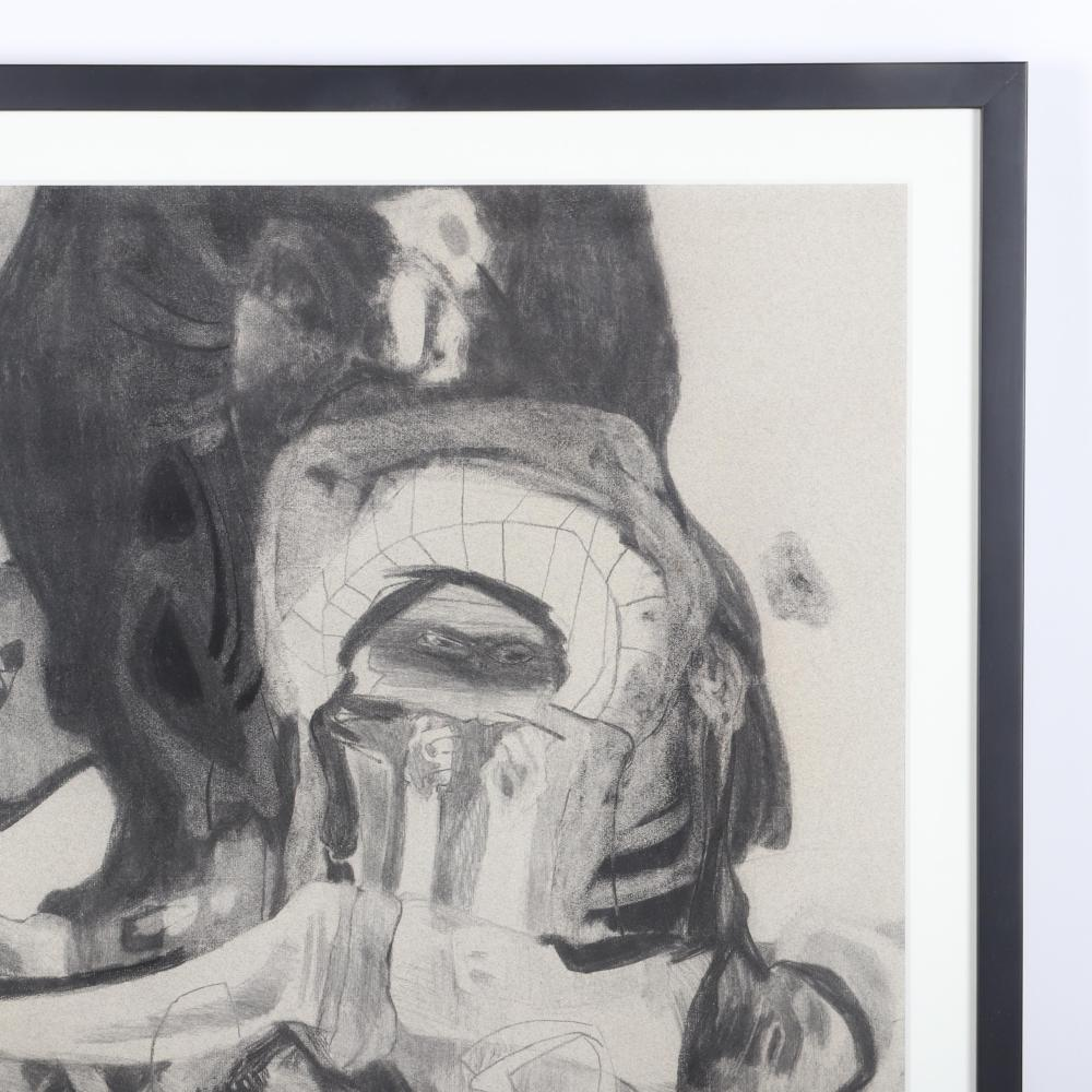 "Joyce Treiman, (American, 1922-1991), Cain and Abel, 1956, charcoal on paper, 24""H x 18""W (image) 28 1/4"" H x 22 1/4"" W (frame)"