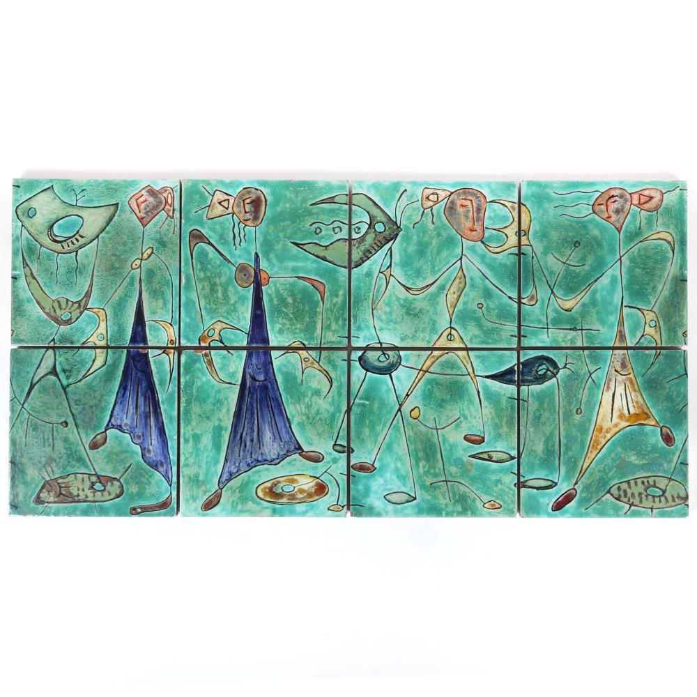 "Modernist Surrealist abstract figural 8pc. hand painted Italian ceramic tile frieze, signed M. Colvecio verso. 9 3/4""H x 9 3/4""W"