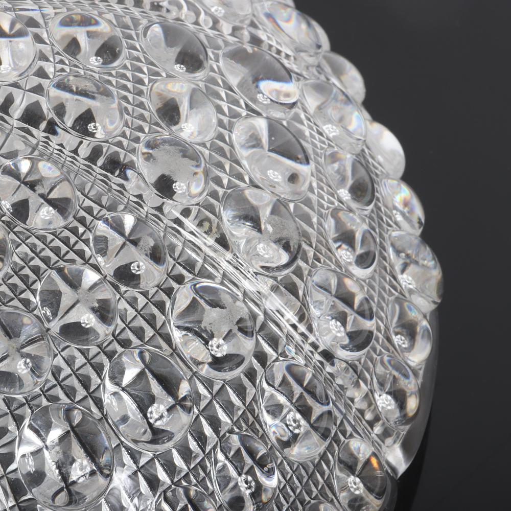 """Carl Fagerlund for Orrefors Mid-20th century Swedish MCM textured bubble glass domed Chandelier flush mount ceiling light. 14""""diam, 5""""H"""