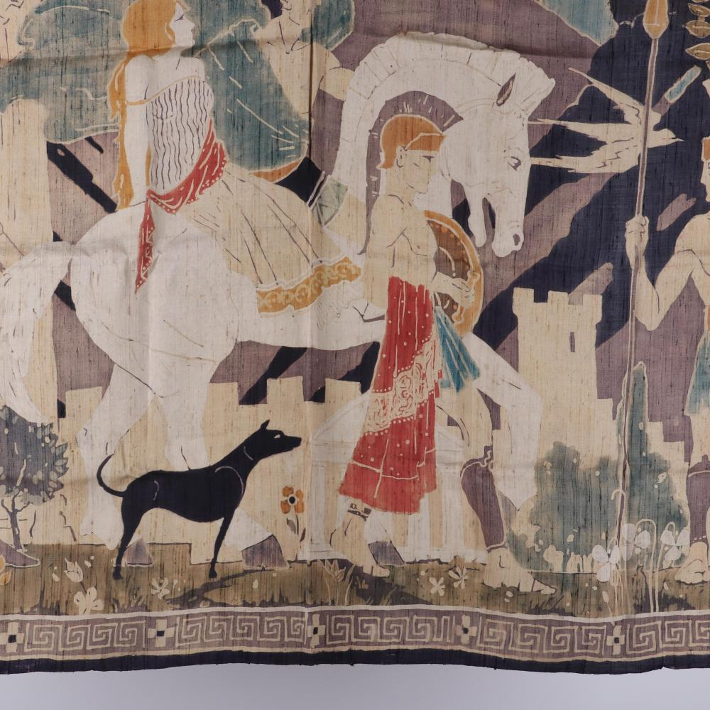 Wilbur David Peat (1898-1966) Neo-Classical Art Deco era mythological scenic hand painted batik textile featuring a depiction of the Greek Epic, Helen of Troy, with central female figure on horse with multiple warrior fi