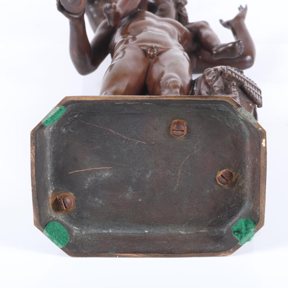 """Italian Neapolitan cast bronze nude figure group of a faun with the mythical god Bacchus as a child with grapes. Grand Tour Classical style. 15""""H x 7""""W x 4""""D"""