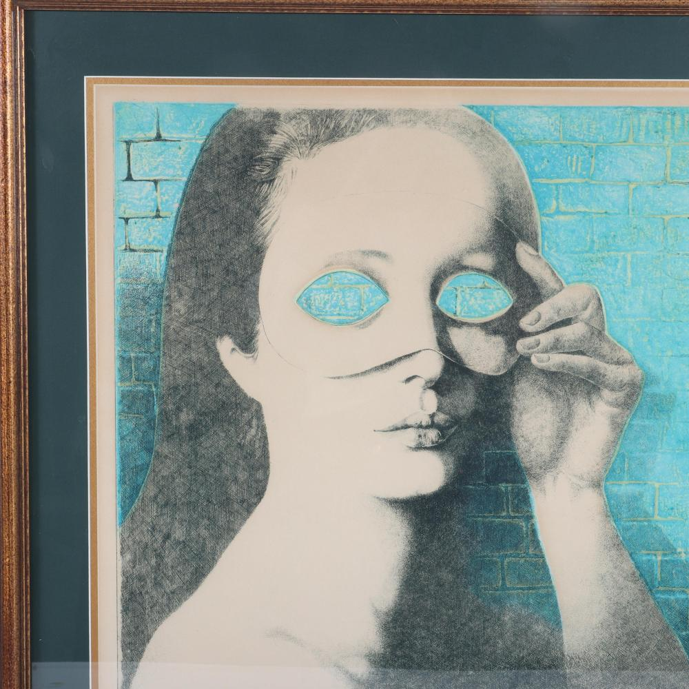 """Claude Serre, (French, 1938-1998), untitled, large scale surrealist color etching, 20""""H x 27""""W (image) 29""""H x 35""""W (frame)"""