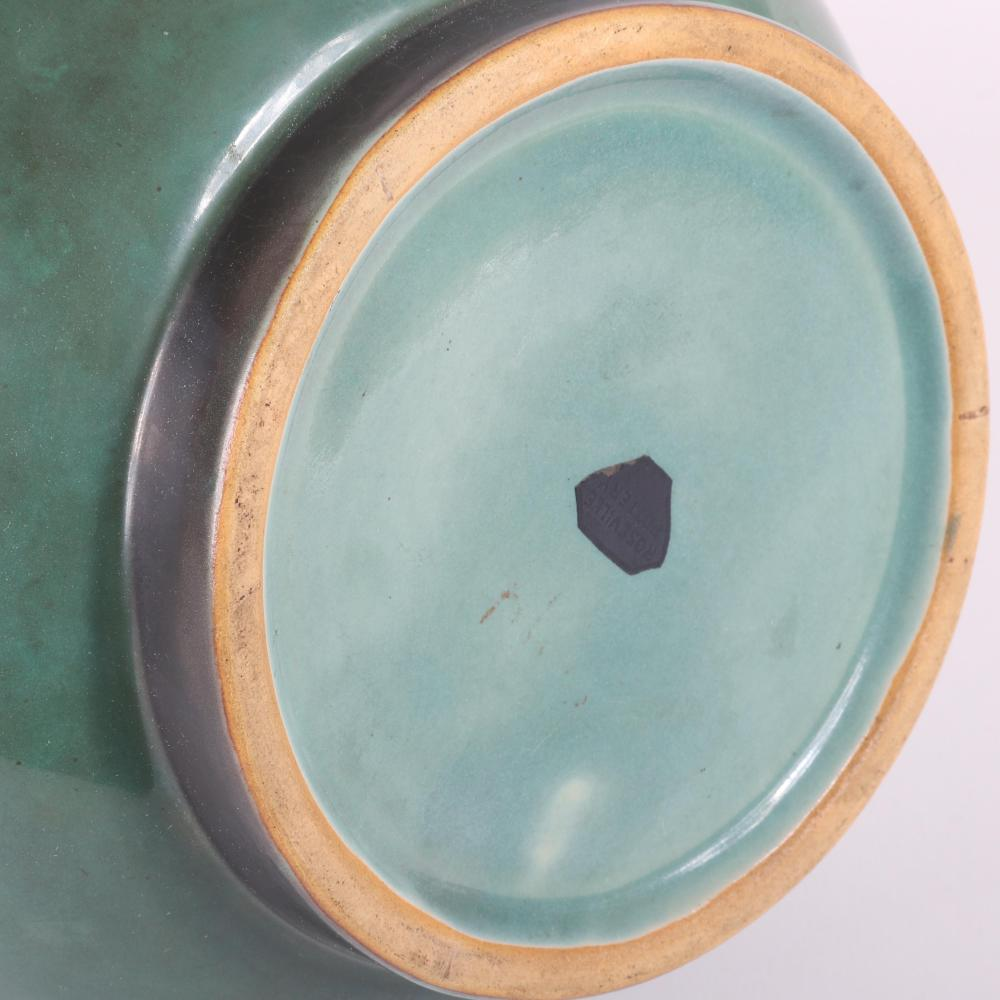"""Roseville art pottery 'Futura' line 'Bomb' vase, with stepped neck, flambe and gloss green glaze. 12""""H"""