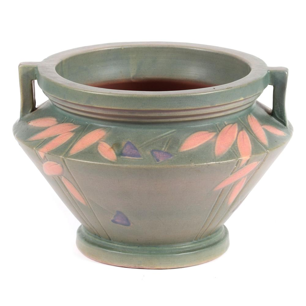 """Roseville art pottery 'Futura' line jardiniere in green with double handles and geometric floral decoration. 7 1/2""""H x 12"""" diam."""