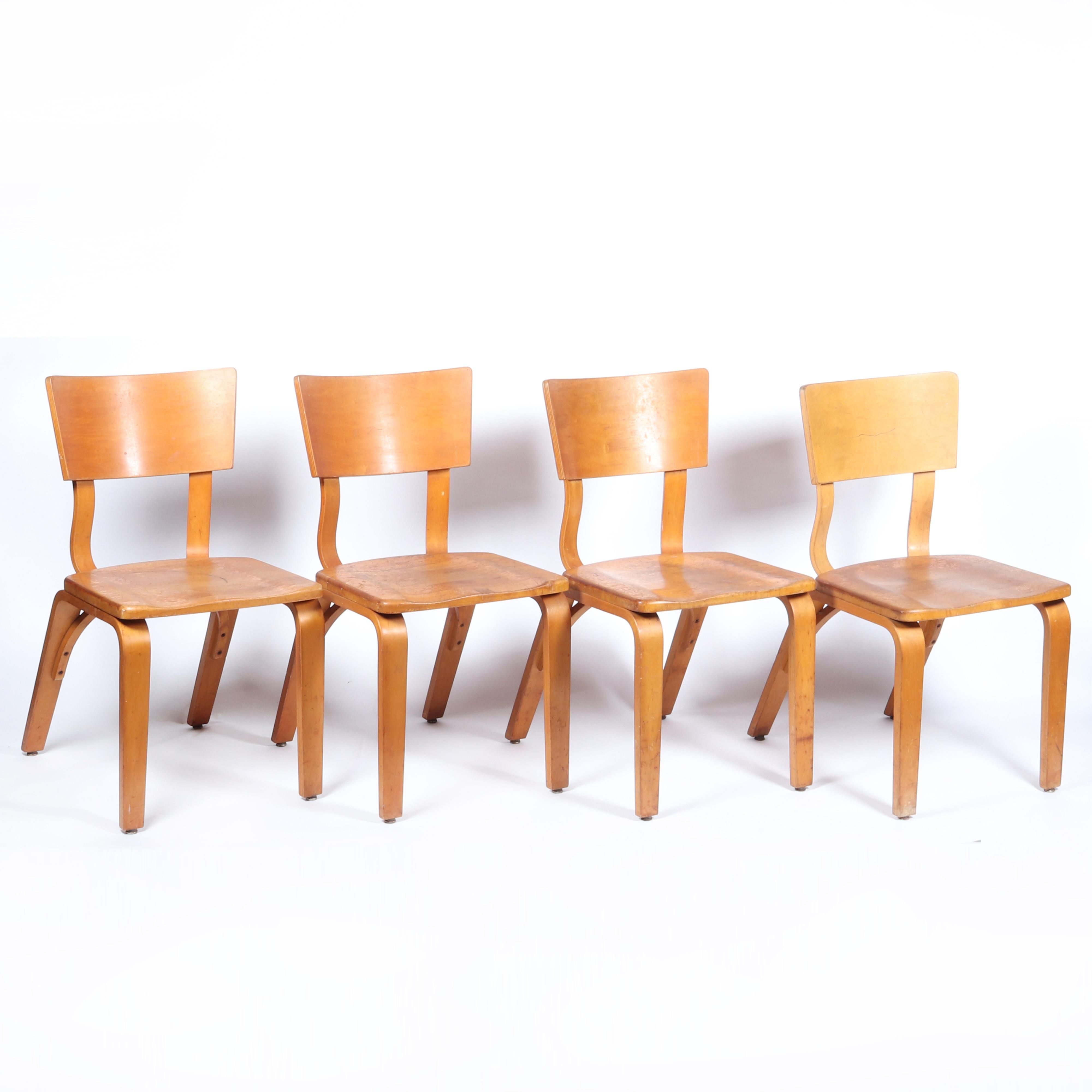 """Four Thonet New York Mid Century bentwood chairs, signed on under seat. 33 1/4""""H x 17 1/2""""W x 23""""D"""