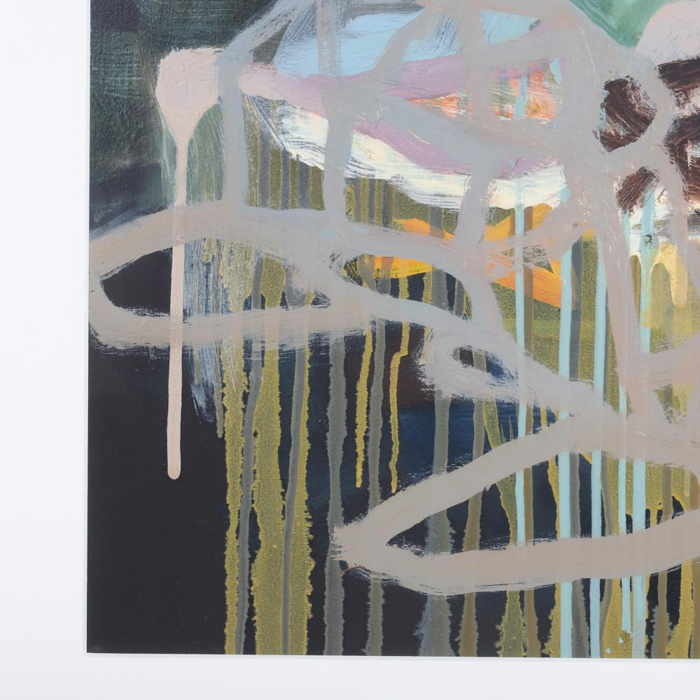 """Susan Hodgin, (American, 1978-2014), Landed, oil on paper, 21""""H x 28""""W (image) 27 1/2"""" x 24"""" (frame)"""