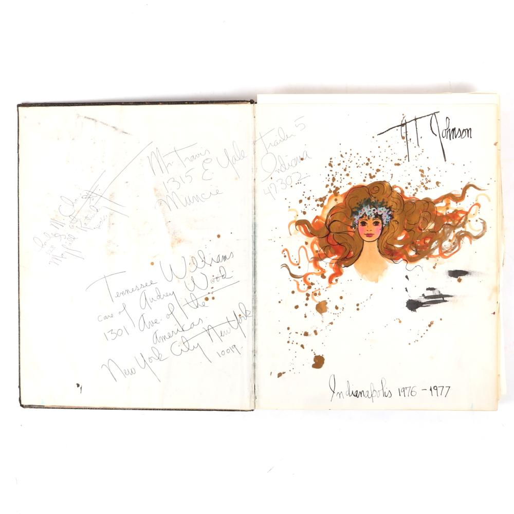 "Joni T. Johnson, (American, 1934-1988), Sketchbook with Paintings, Drawings, Sketches, Poetry, Musings, Watercolor, Gouache, Mixed Media, Pen and Ink, 1""H x 11""W x 14""D"