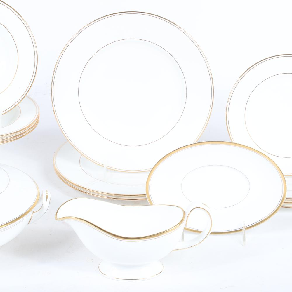 """Lenox and Royal Worcester various white bone china dinnerware with gold band. 11"""" diam (largest)"""