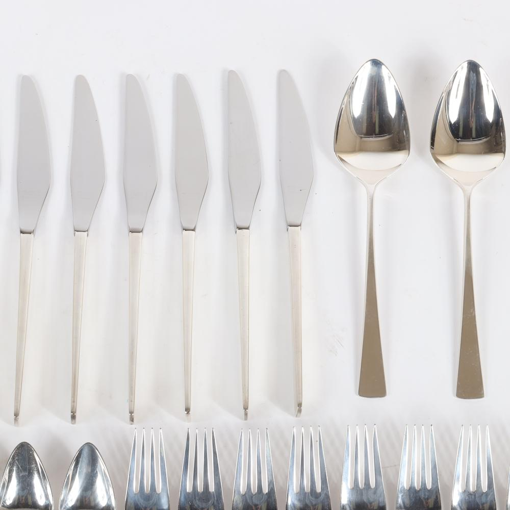 """John Prip for Reed & Barton 'Dimension' pattern sterling silver partial flatware service for 5+, 43 pieces. 7 1/2""""H (largest fork) 6""""H (spoon)"""