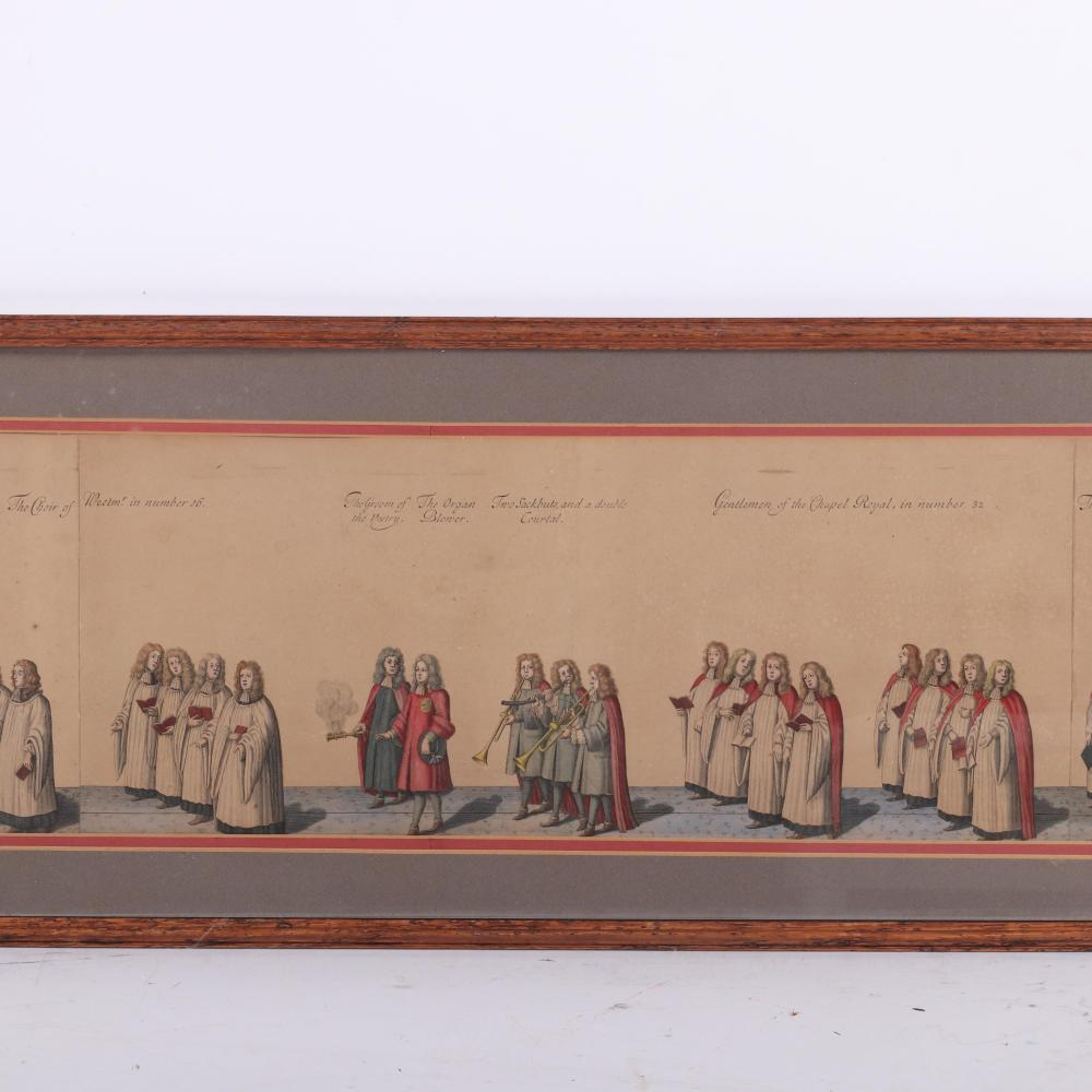 "Original illustration plate of the formal procession for the coronation of James II from Francis Sandford, History of the Coronation of James II and of Queen Mary (T. Newcomb: [London], 1687). 8""H x 52"" W (image) 12""H x"