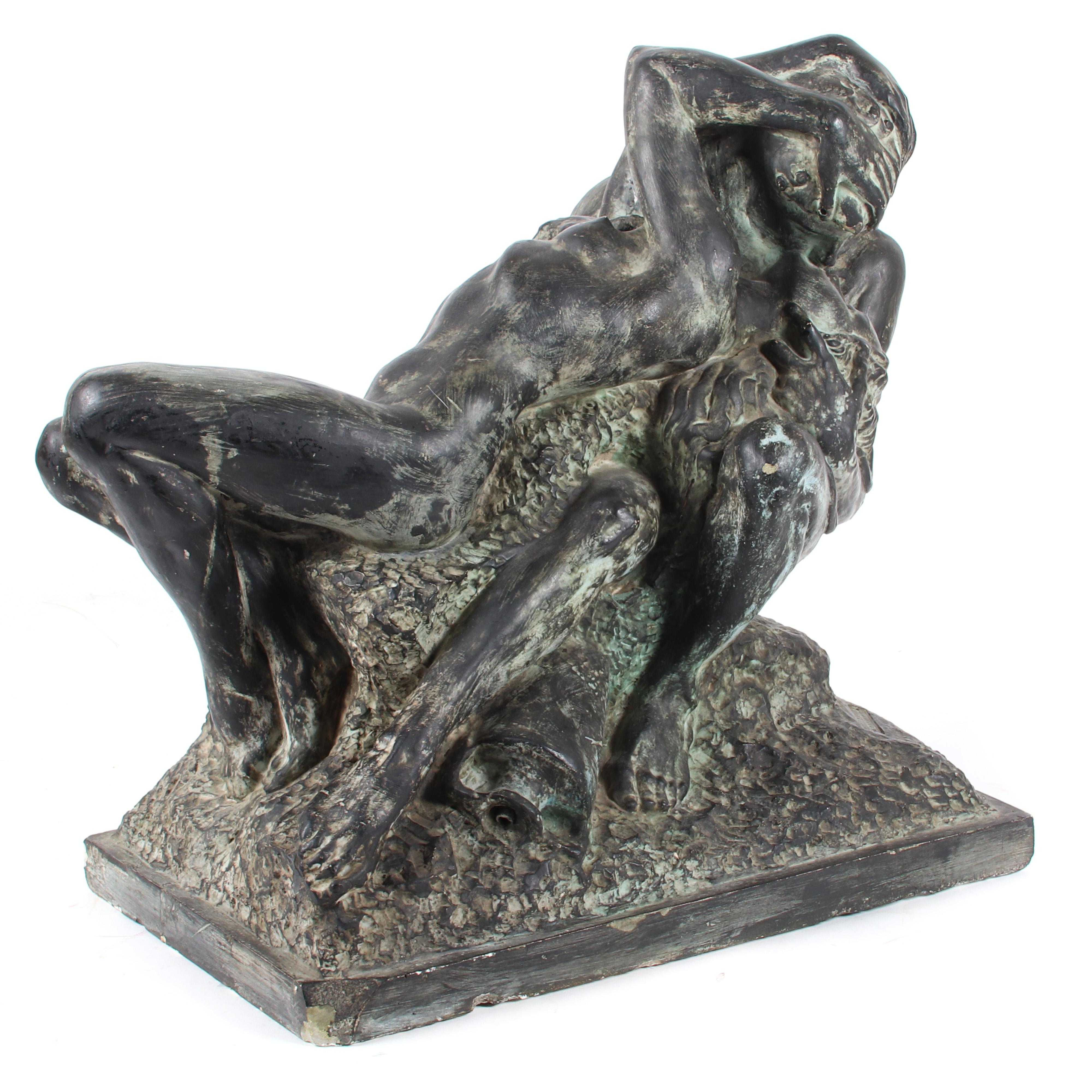 """Edgardo Simone, (Italian/American, 1890-1948), The Kiss, patinated plaster casting for kissing nudes fountain sculpture, 19"""" H x 19"""" W x 11"""" D."""
