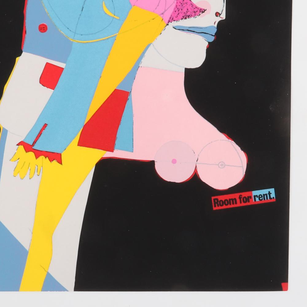 """Richard Lindner, (American / German, 1901-1978), Room for Rent, silkscreen print with folio cover, 1969 Cordier and Eckstrom, 11""""H x 8""""W"""