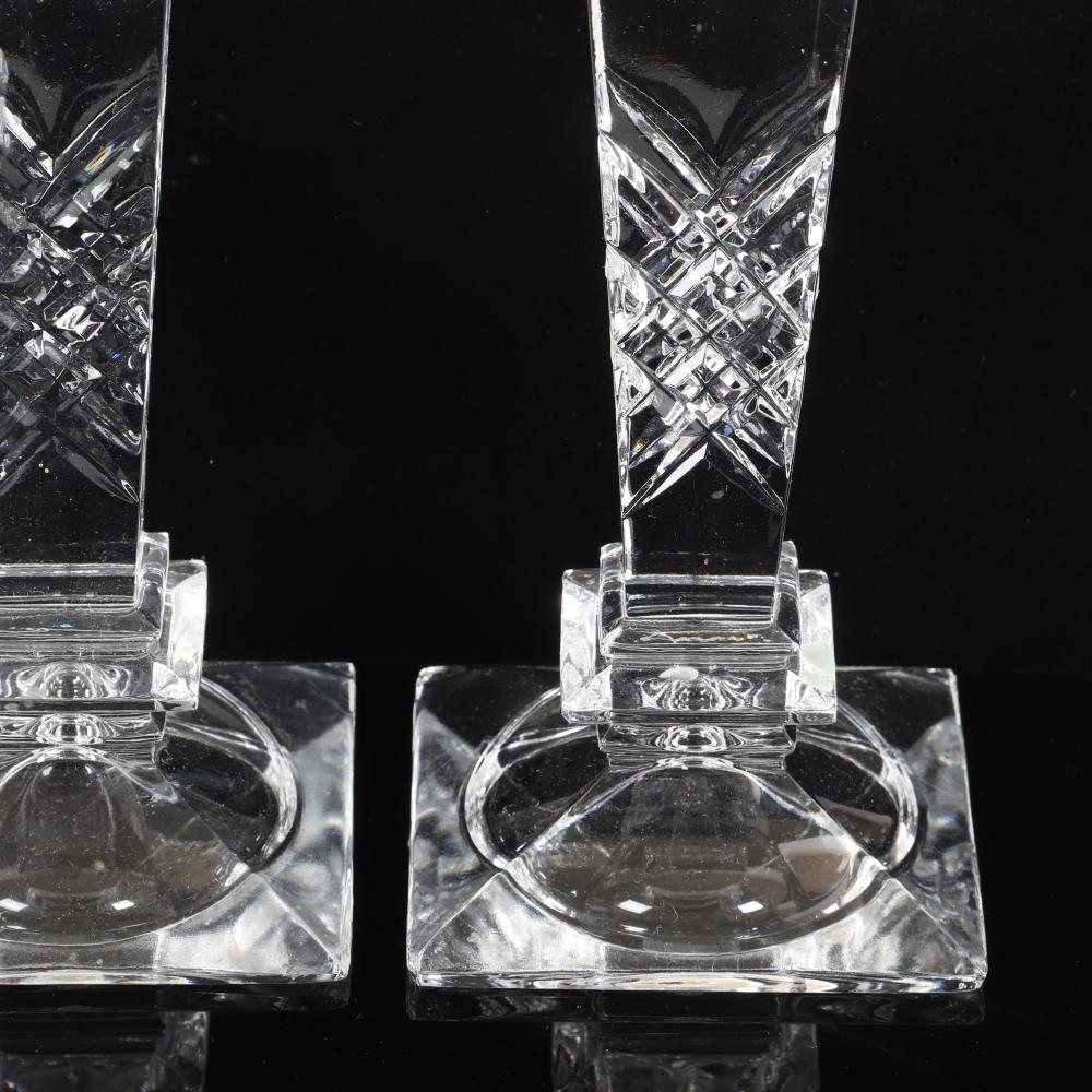 "Pair LARGE fine crystal candlesticks. 10 1/4""H"