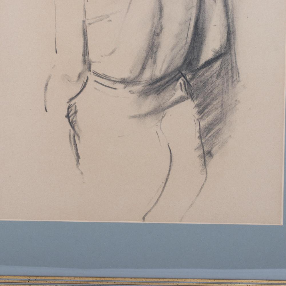 """Framed figure study in charcoal of a male semi-nude model entitled 'Tinsdale'. Inscribed verso as a gift (to Raymond Leppard) from British Playwright, Peter Shaffer (1926-2016). 19 1/2""""H x 14""""W (image), 27""""H x 21""""W (fram"""