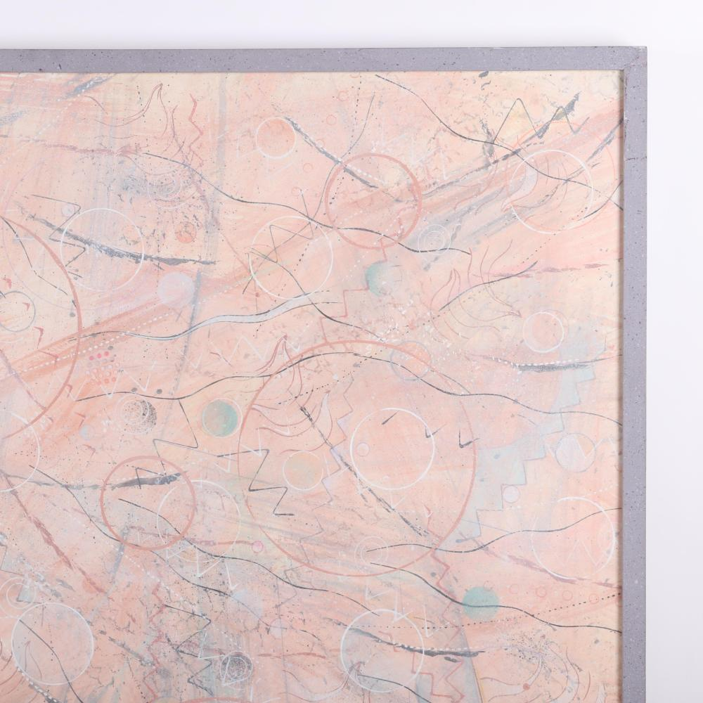 """Steven Redman, (American, 20th Century), untitled abstract, 1990, mixed media on paper, 29 1/2""""H x 41 1/2""""W (image), 31""""H x 43""""W (frame)"""