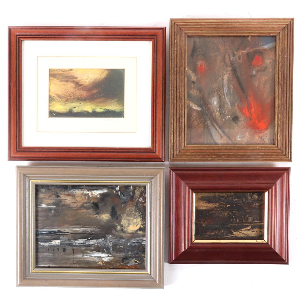 Four small original abstract landscape oil on board paintings from Hanover Fine Arts, Edinburgh, Scotland. Three by Douglas Simpson ca.1991, oil on board, all signed lower left. One by Sarah Wilkinson, titled Thunderstor