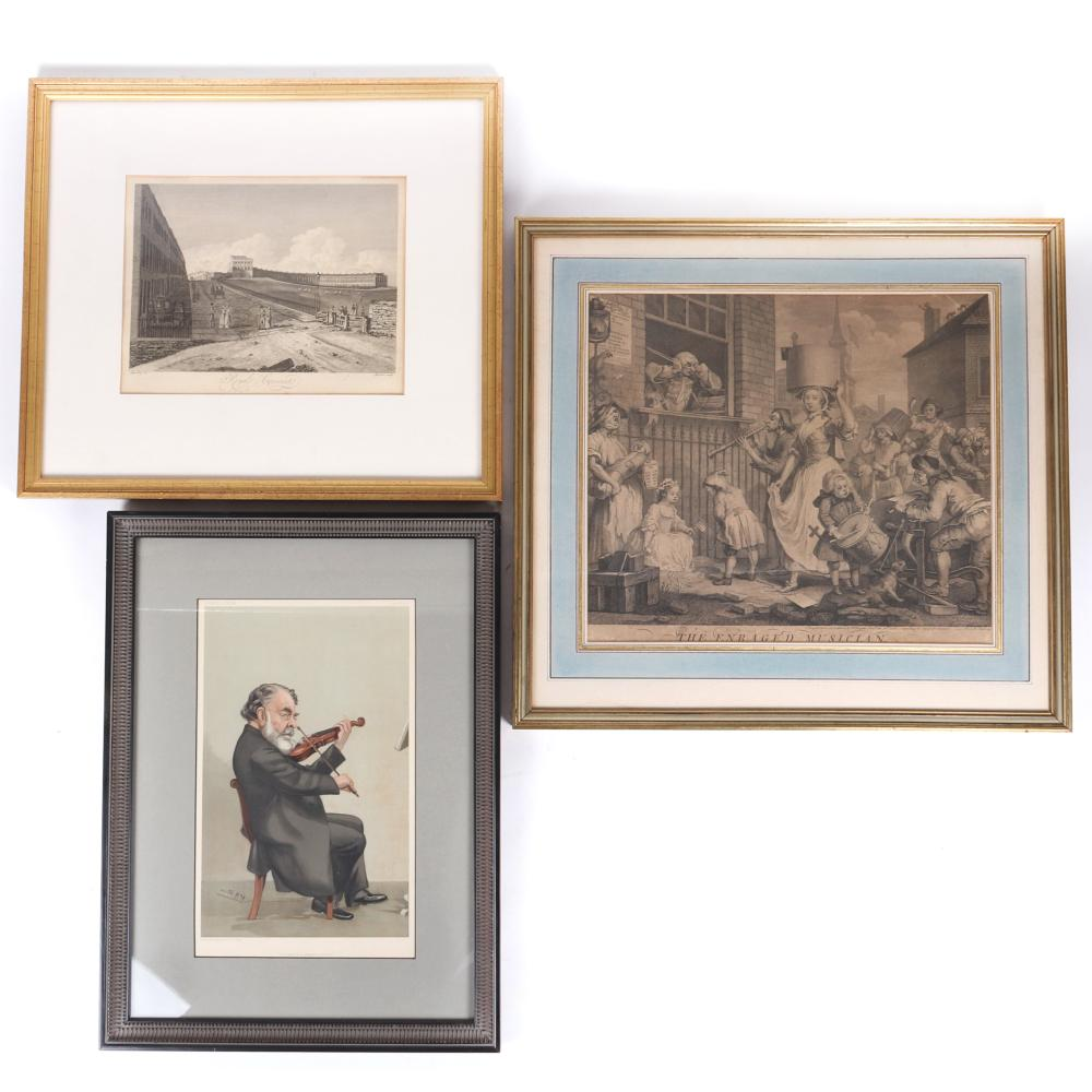 Three antique English prints from the estate of Raymond Leppard; 'The Enraged Musician' engraved by Wm. Hogarth, 1741, 'Royale Crescente' scenic engraving, and 'The Last of a Classic School' Spy satirical lithograph.