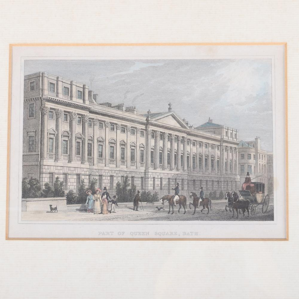 Four framed antique English scenic engravings by Thomas H. Shepherd from the estate of Raymond Leppard; 'Bath, From Beachen Cliff' with aquatint, 'Part of Queen Square, Bath'