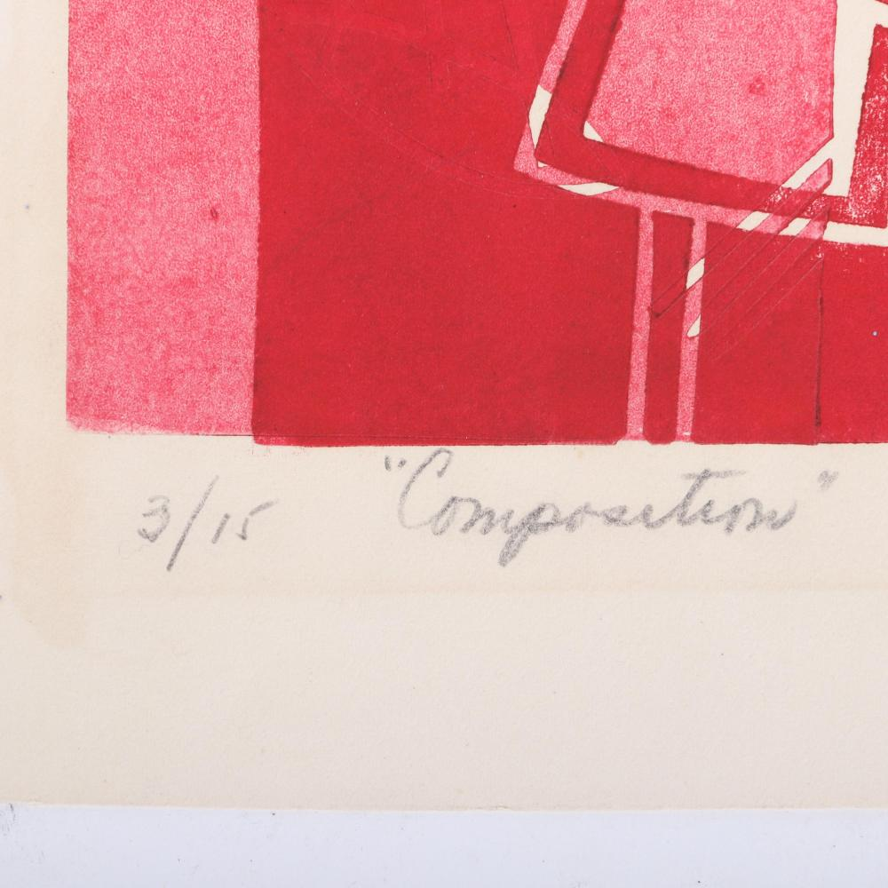 """Irene Zevon, (American, 1918-2006), """"Composition"""" and """"Structure"""", 1959, TWO woodblock prints, 18""""H x 8""""W (image), 21""""H x 11""""W (sheet)"""