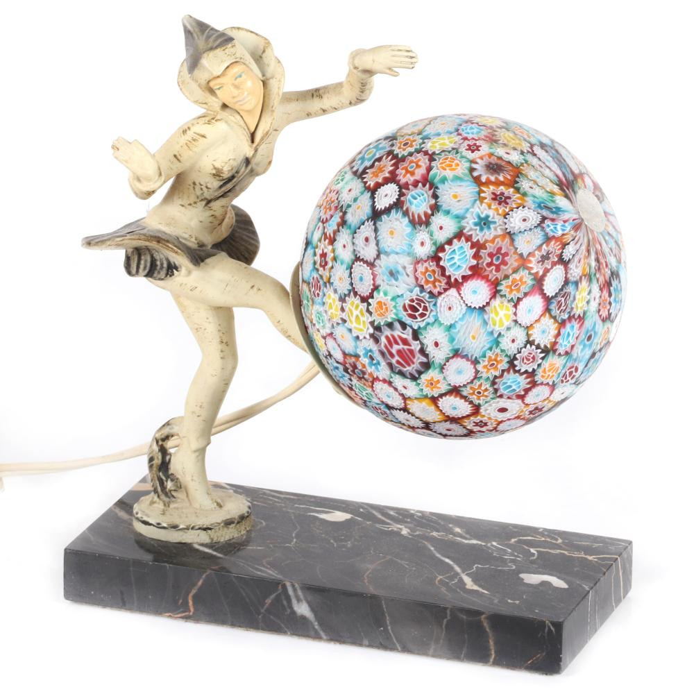 "Art Deco patinated lady dancer lamp after Ignacio Gallo (Spanish, d. 1935) with Italian millefiori glass globe shade, mounted on a black marble base, circa 1925. 8 1/2""H x 7 1/2""L"