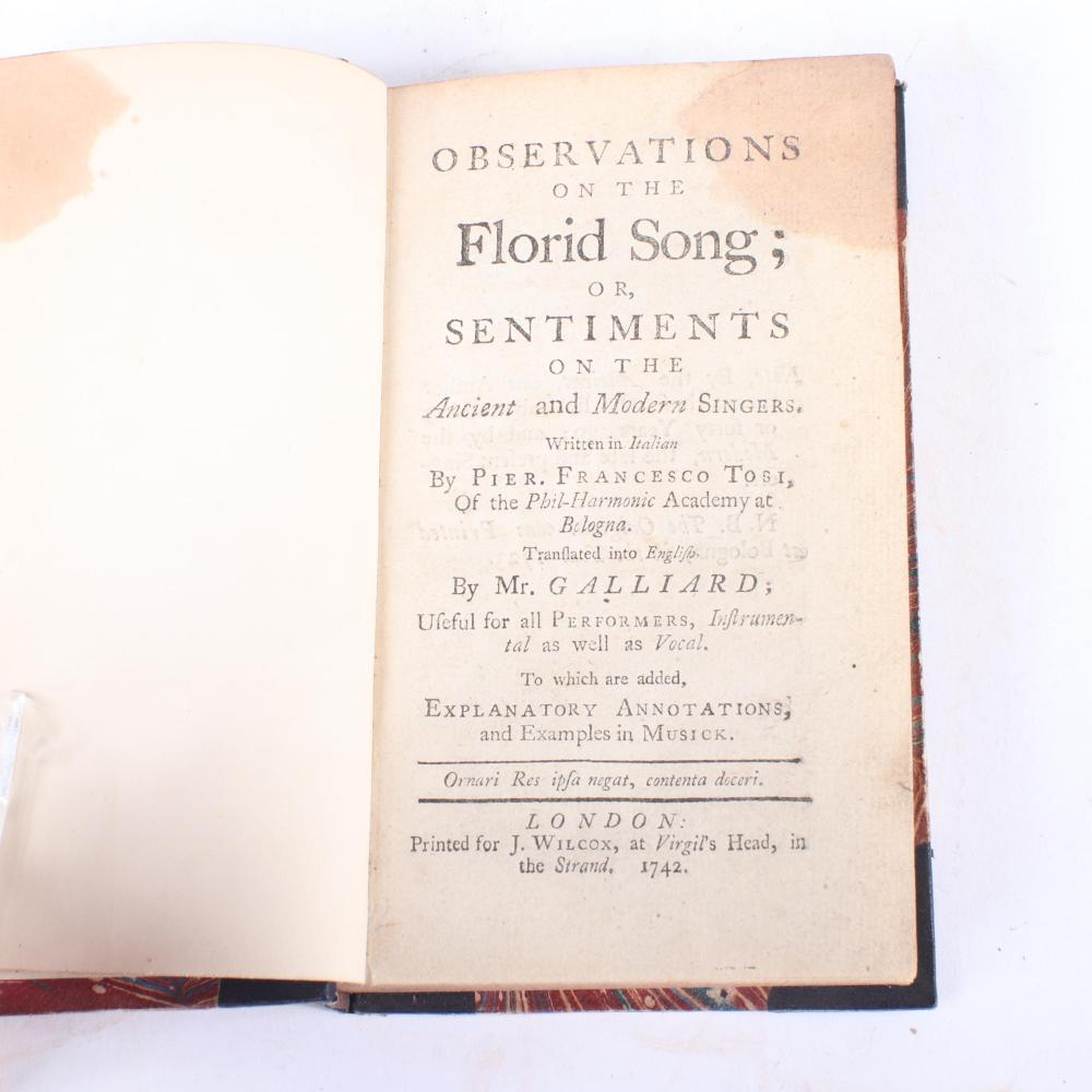 """Observations on the Florid Song; or, Sentiments on the Ancient and Modern Singers. Written in Italian By Pier. Francesco Tosi, for J. Wilcox, London (1743), six engraved music score plates. 3/4""""H x 4 1/4""""W x 6 3/4""""D"""