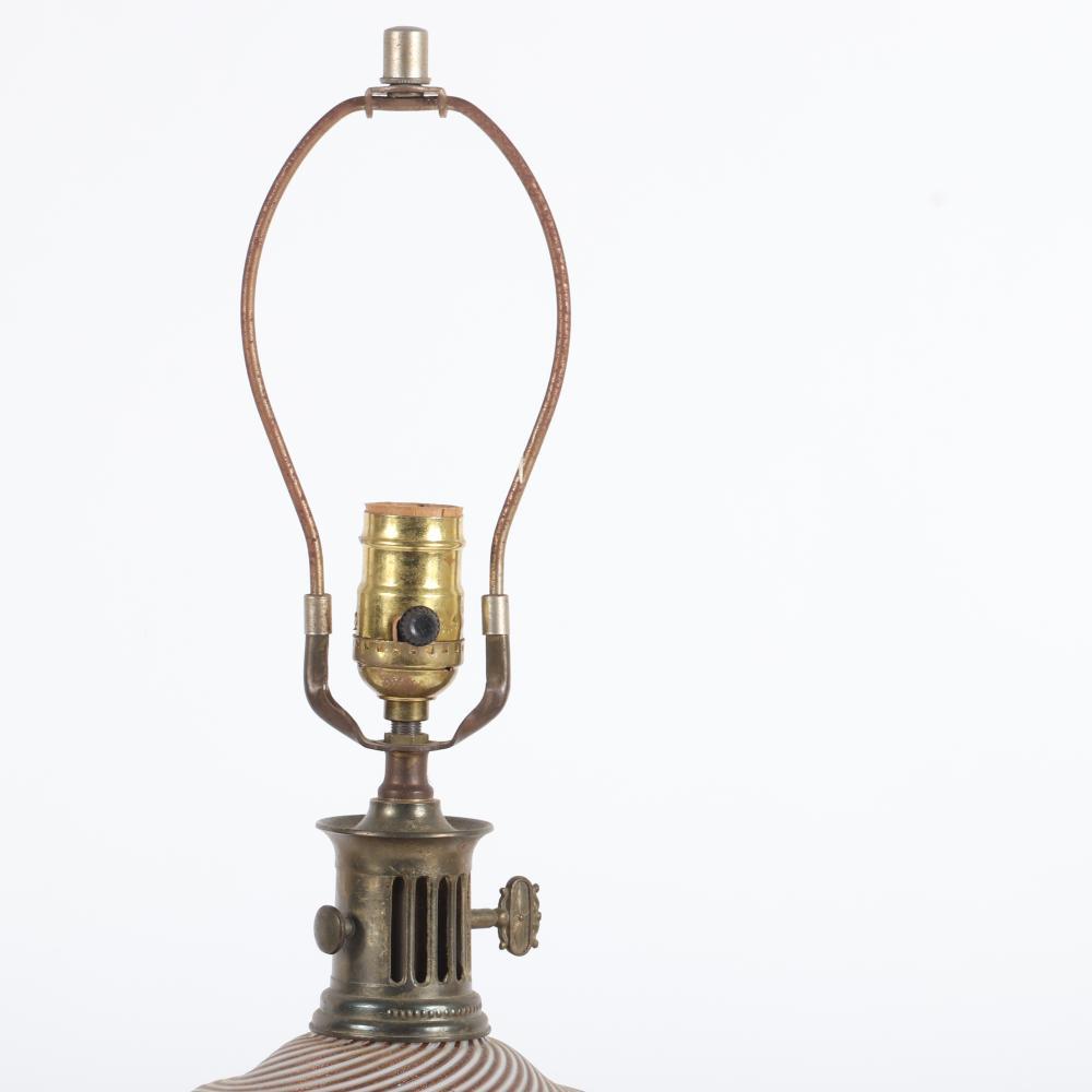 Vintage pre-war Murano aventurine filigrana art glass table lamp. 30:H (including finial)
