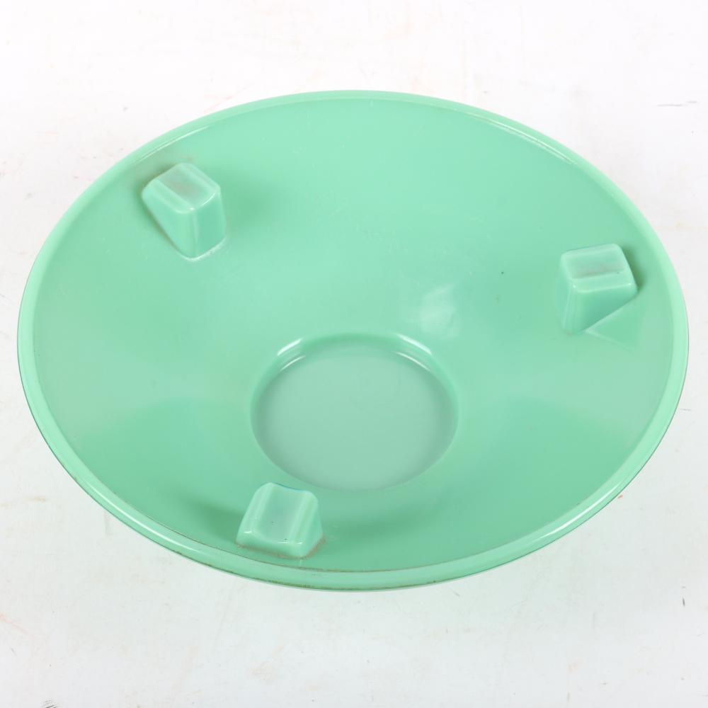 """Rare large Frankart Art Deco figural arching nude smoking stand with original jadeite glass tray, marked on base. 23 1/2""""H"""
