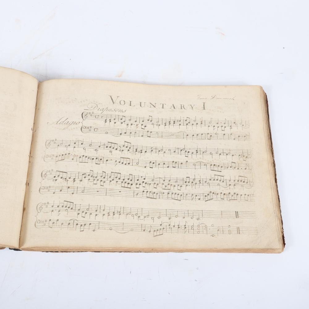 "Bound 5 compositions: Ten Voluntarys for the Organ or Harpsicord, M. John Stanley, Opera Quinta and Opera Settima, 1742; XII Voluntaries Joannis Travers, VI Cornet Piece, Charles Burney; Six Volunarys, John Garth. 1""H x"