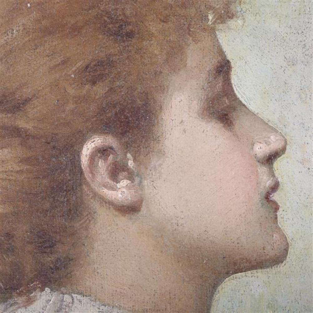 """Pair of Impressionist familial portraits of a young woman and girl beauty in profile ca. 1900, unknown American genre painter. Originating from a collection of Brown County art, Indiana. 13""""H x 11""""W (frame), 7 1/2""""H x 5"""