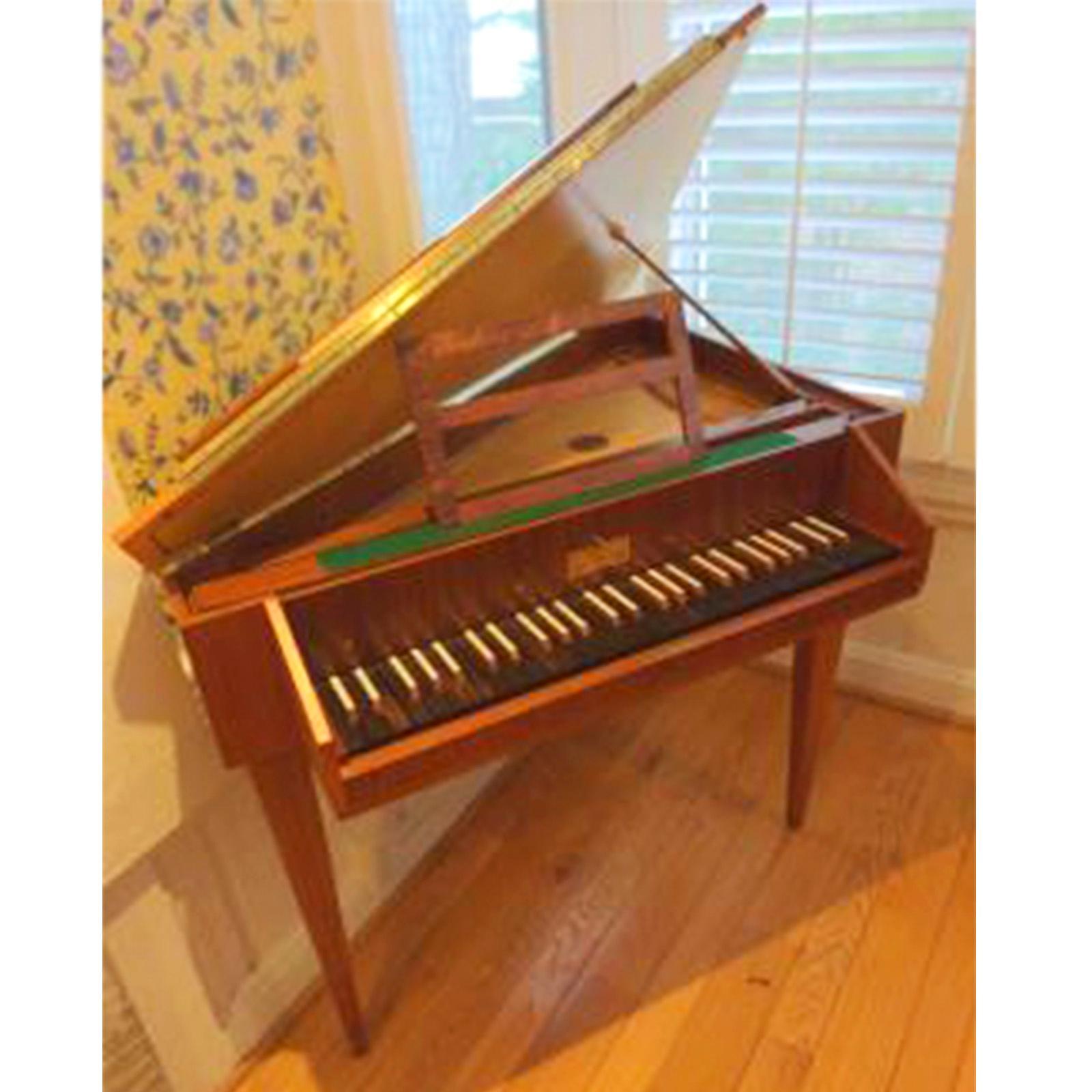 Sperrhake Passau portable single manual harpsichord serial #74062, satinwood case, made in Germany ca.1970s.