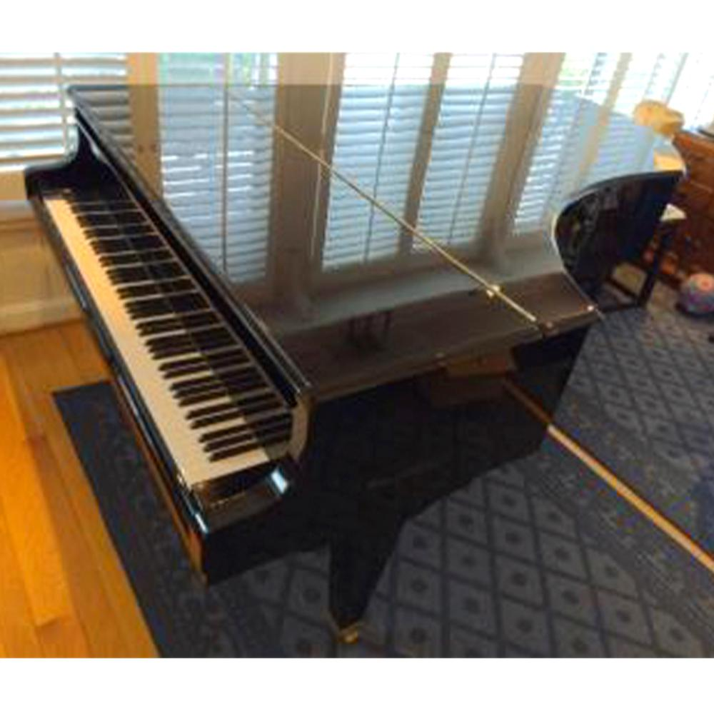 """Bosendorfer Grand Piano, Model 225, Serial No.37277, black ebony finish with upholstered bench 40.15""""H x 62.59""""W x 88.58""""D"""