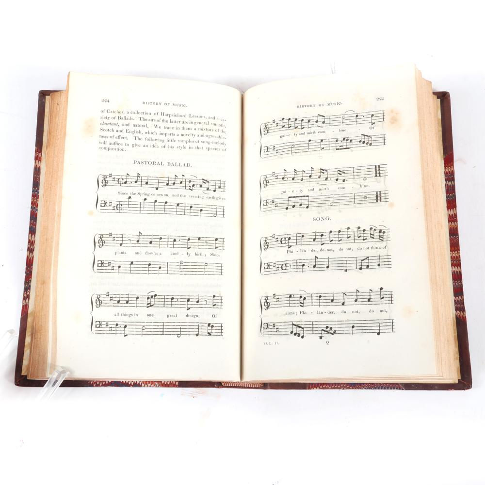 "Two Volumes: A General History of Music, from The Earliest Times to the Present comprising The Lives of Eminent Composers and Musical Writers, Thomas Busby, London, 1819, Printed for G. and B. Wittaker. 1 1/4""H x 5 3/4""W"