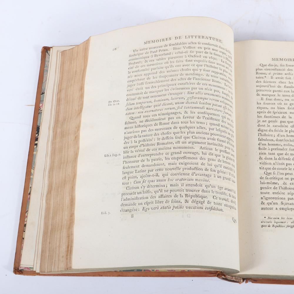 """Three Volume 1777 Set: Choix des Memoires de L'Academie Royale des Inscriptions et Belles-Lettres; A. Londres: Chez T. Becket et P. Elmsly, MDCCLXXVII 2 1/4""""H x 8 3/4""""W x 11""""D (each)"""