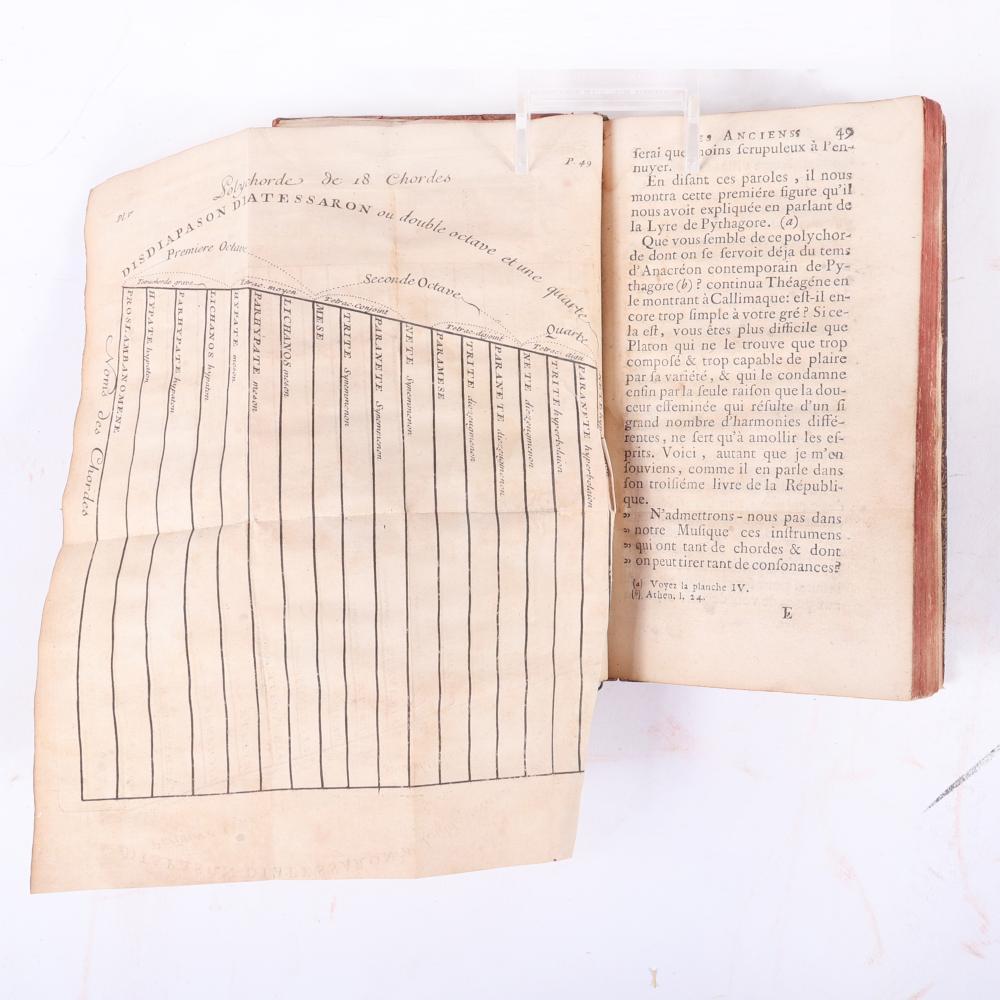 """Dialogue sur la musique des anciens. A Monsieur de ***, Francois de Castagnerede, abbé de Chateuneuf, Published by Noël Pissot, A Paris (1725). 3/4""""H x 3 3/4""""W x 6 1/4""""D"""