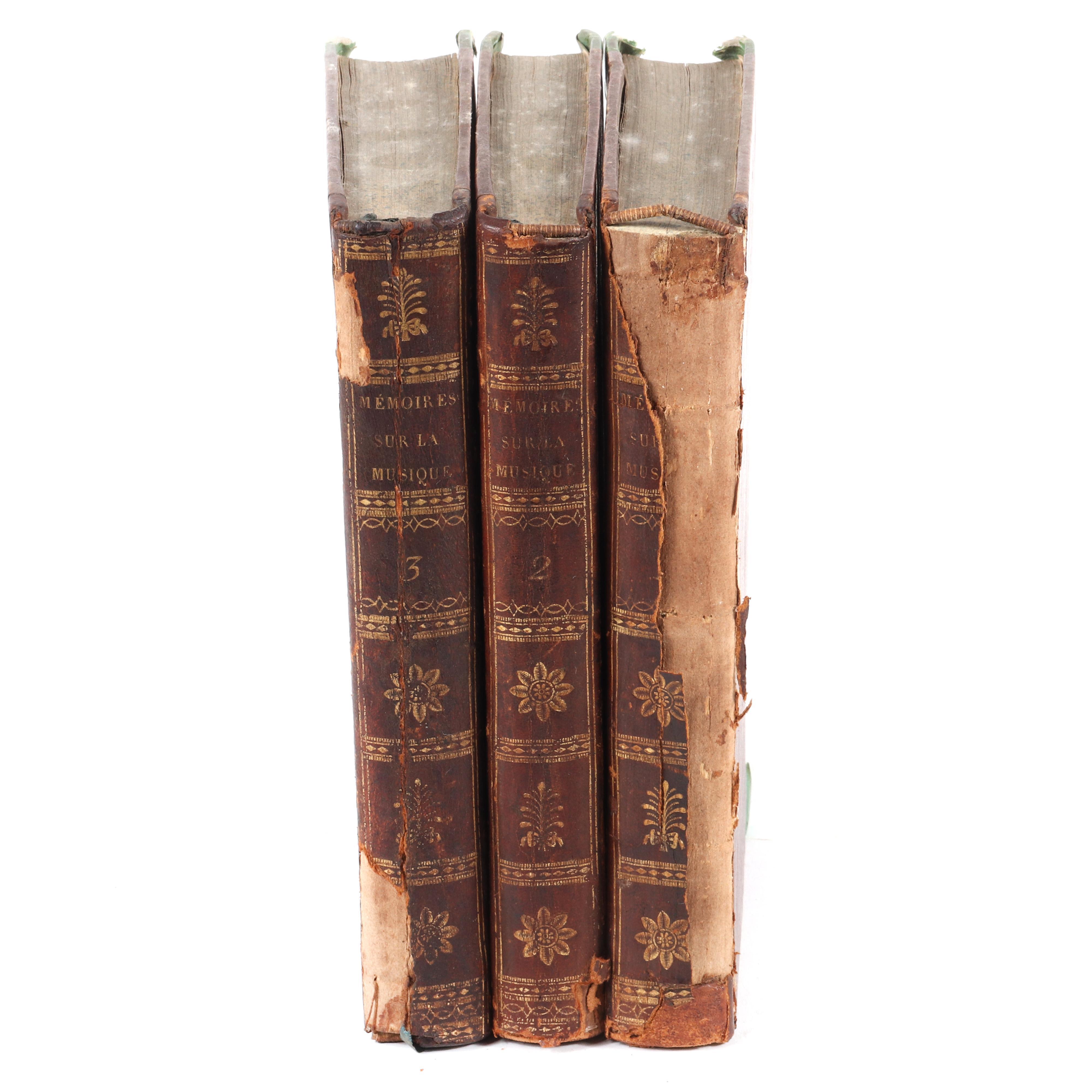 """Three Volumes: Mémoires ou Essais sur la Musique. Tome Premier, Duxieme, Troisieme. Par le C. en. Grétry. Published by de l'Imprimerie de la République, A Paris, 1797 1 1/4""""H x 5""""W x 8 1/4""""D (each)"""