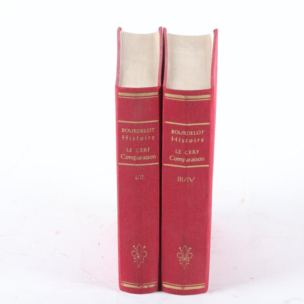 """Six Music history books & scores in French: Histoire de la Musique et Des Ses Effets (1715), 1966 in two volumes; L'Art de toucher le Clavecin par Francois Couperin, 1933. 1/2""""H x 8""""W x 10 1/2""""D (Viollier)"""