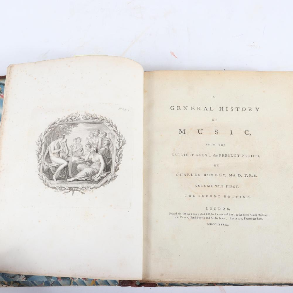 "Four Volumes: General History of Music from the Earliest Ages to the Present Period by Charles Burney, Printed for the Author, with three first editions, 1732 & 1739. 1 3/4""H x 9 1/4""W x 11 3/4""D (each)"
