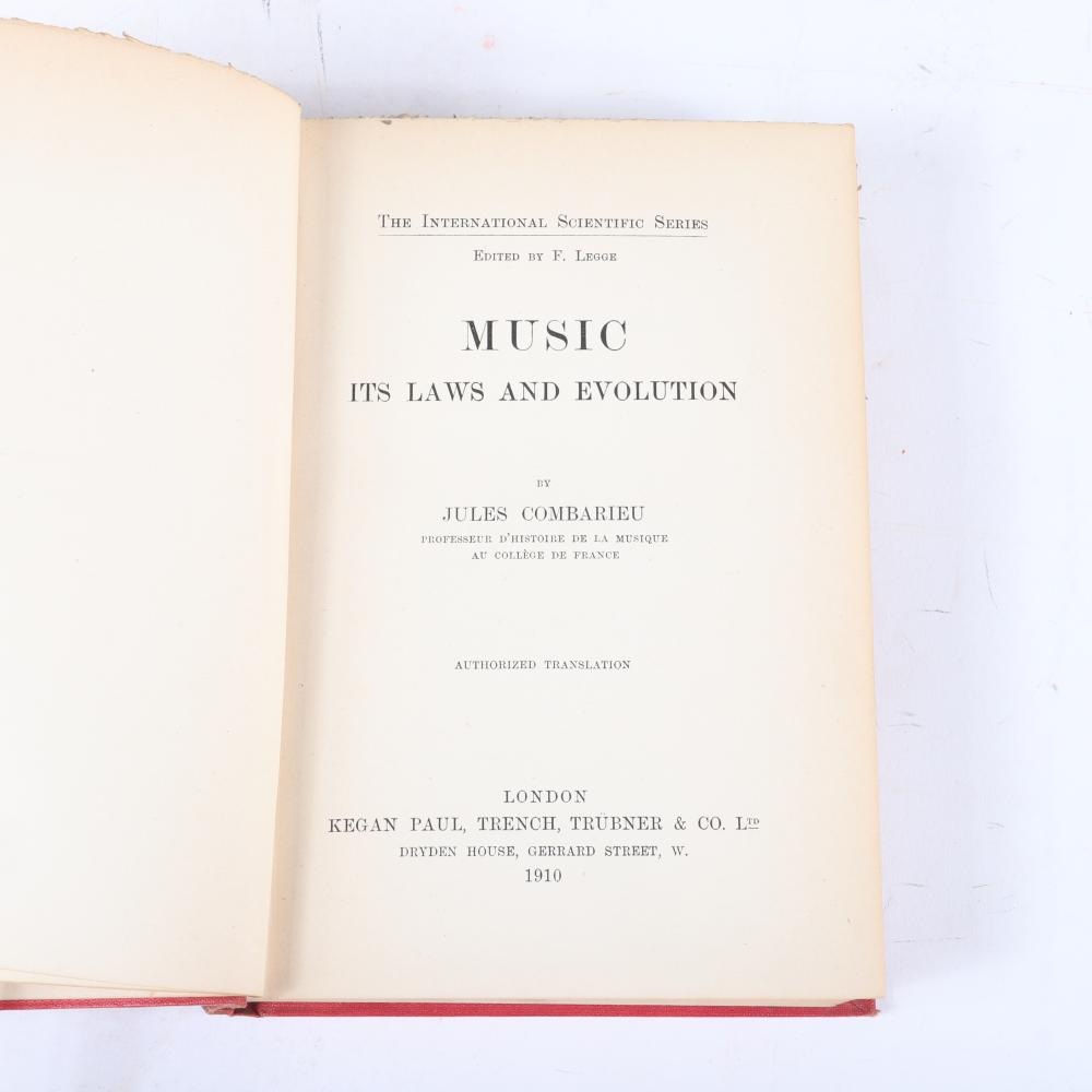 "Jules Combarieu (2 Vols) Music It's Laws and Evolution, London 1910 and La Musique Ses Lois son Evolution, 1907. 1 1/4""H x 5 1/4""W x 7 1/2""D"