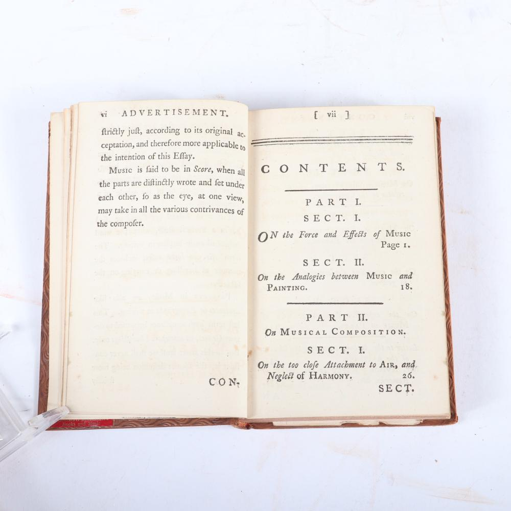 "An Essay on Musical Expression, Chalres Avison, With Alterations and Large Additions, London, The Third Edition, Published by London Printed for Lockyer Davies (1775). 2/3""H x 3 3/4""W x 5 3/4""D"
