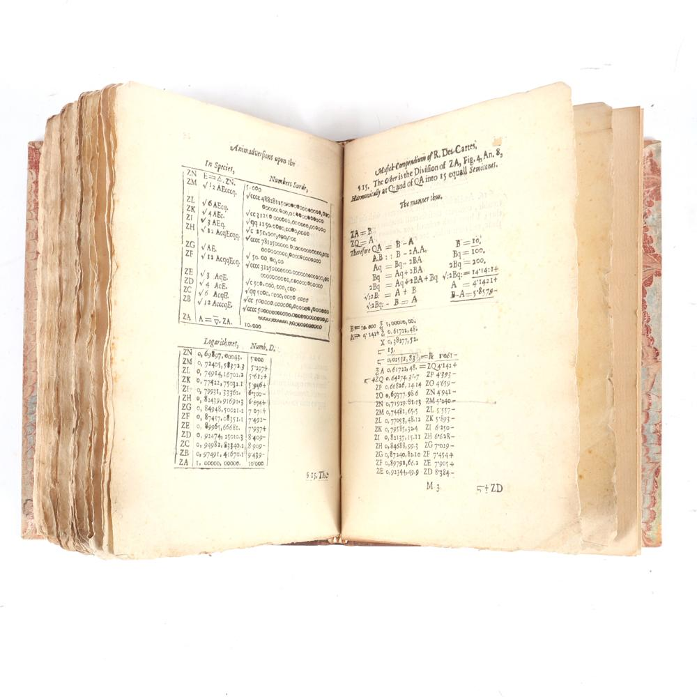 """Renatus Des-Cartes Excellent Compendium of Musick with Necessary and Judicious Animadversions Thereupon. By a Person of Honour. London, 1653. 3/4""""H x 6 1/4""""W x 8 1/4""""D"""