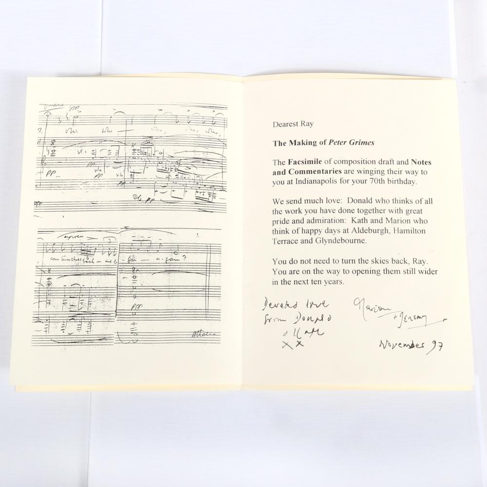 "The Making of Peter Grimes (two volumes), Edited by Paul Banks, The Britten Estate Limited, The Boydell Press, 1996, a gift to Maestro Leppard with personal note on his 70th birthday. 3""H x 10 1/4""W x 14""D"