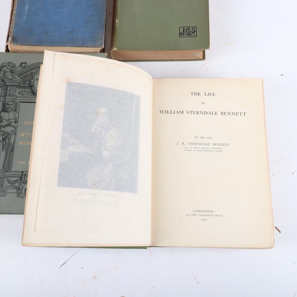 """Seven Music books: The Life of William Sterndale Bennett, by his son, 1907; History of English Music by Henry Davey, 1895; The Sense of Beauty by George Santayana, 1905. 1 3/4""""H x 7""""W x 9 1/2""""D (William Sterndale Bennett"""