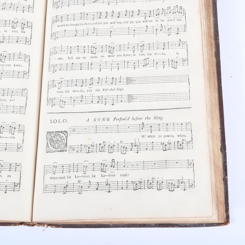 "Amphion Anglicus A Work of Many Compositions, For One, Two Three and Four Voices: Instrumental Music, Organ, Harpsichord or Theorboe-Lute by Dr. John Blow, London, 1700. 1 3/5""H x 8 1/2""W x 12 1/2""D"