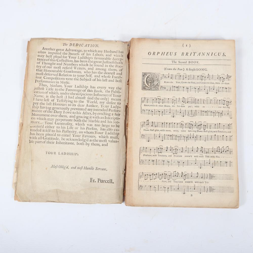 """Orpheus Britannicus. A Collection of The Choicest Songs for one, two, and three voices compos'd by Mr. Henry Purcell, London, Printed by William Pearson for Henry Playford, 1702. 1 1/2""""H x 8""""W x 12 1/2""""D"""